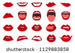 woman lips gestures set. girl... | Shutterstock .eps vector #1129883858