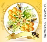 background with bees  honeycomb ... | Shutterstock .eps vector #112989244