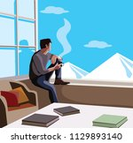 relaxed man sitting in window... | Shutterstock .eps vector #1129893140