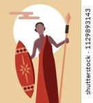 african tribal masai warrior... | Shutterstock .eps vector #1129893143