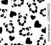 panda with heart background.... | Shutterstock .eps vector #1129893713
