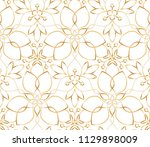 seamless golden flower pattern... | Shutterstock .eps vector #1129898009