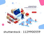 distribution  global factory... | Shutterstock .eps vector #1129900559