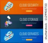cloud services banners set.... | Shutterstock .eps vector #1129903733