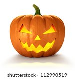 Stock photo scary jack o lantern halloween pumpkin with candle light inside d render 112990519