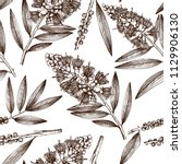vintage background with hand... | Shutterstock .eps vector #1129906130