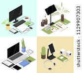 isometric workplaces set with... | Shutterstock .eps vector #1129907303