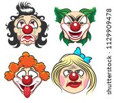 set of different circus clown... | Shutterstock .eps vector #1129909478