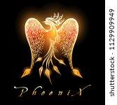 fire burning phoenix bird on... | Shutterstock .eps vector #1129909949