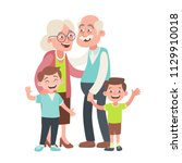 grandparents and two... | Shutterstock .eps vector #1129910018