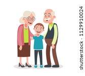 grandparents and grandson...   Shutterstock .eps vector #1129910024
