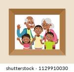 grandparents and grandchildren... | Shutterstock .eps vector #1129910030