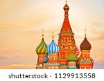 view of st. basil's cathedral... | Shutterstock . vector #1129913558