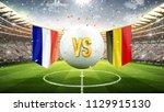 france vs belgium. soccer... | Shutterstock . vector #1129915130