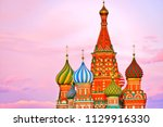 view of st. basil's cathedral... | Shutterstock . vector #1129916330