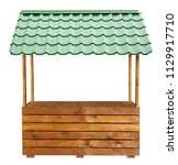 Small photo of Wooden market stand stall with green metal awning