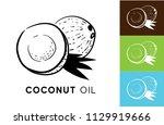 coconut oil. set of vector... | Shutterstock .eps vector #1129919666