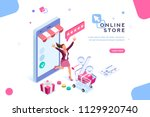 e shop  shopping concept with... | Shutterstock .eps vector #1129920740