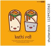 happy smiling face kathi roll... | Shutterstock .eps vector #1129923563