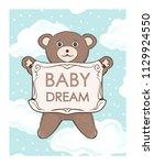 teddy bear cub with frame for... | Shutterstock .eps vector #1129924550