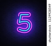 number five symbol neon sign... | Shutterstock .eps vector #1129928549