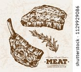 hand drawn sketch steak and... | Shutterstock .eps vector #1129929086