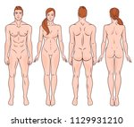 male and female full body back... | Shutterstock .eps vector #1129931210