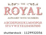 royal alphabet with numbers in... | Shutterstock .eps vector #1129932056