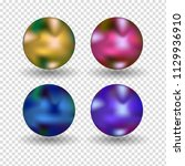 chrome ball realistic isolated... | Shutterstock .eps vector #1129936910