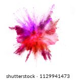 explosion of coloured powder... | Shutterstock . vector #1129941473
