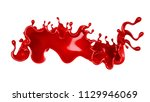 a splash of red thick liquid.... | Shutterstock . vector #1129946069