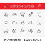 set of weather vector line... | Shutterstock .eps vector #1129956476