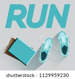 run. sneakers for running with... | Shutterstock .eps vector #1129959230