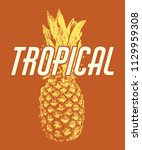 tropical. vector hand drawn... | Shutterstock .eps vector #1129959308