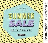 summer sale memphis style ... | Shutterstock .eps vector #1129966700