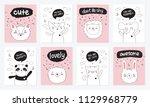 vector cartoon collection of... | Shutterstock .eps vector #1129968779