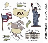map of the united states of... | Shutterstock .eps vector #1129970066