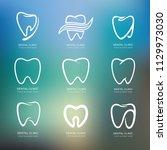 set of graphic teeth.  dental... | Shutterstock .eps vector #1129973030