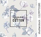 organic cotton type over hand... | Shutterstock .eps vector #1129973180