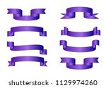 purple glossy ribbon vector...   Shutterstock .eps vector #1129974260
