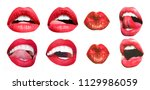 mouth icon. sexy female lips... | Shutterstock . vector #1129986059