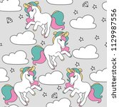seamless pattern with cute... | Shutterstock .eps vector #1129987556