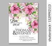pink hibiscus floral wedding... | Shutterstock .eps vector #1129992113