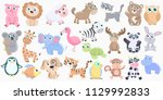 cute animals set. | Shutterstock .eps vector #1129992833