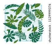 vector tropical leaves on white ... | Shutterstock .eps vector #1129999376