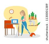 woman busy doing housework at... | Shutterstock .eps vector #1130001389