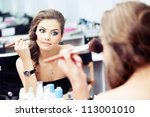 reflection of young beautiful... | Shutterstock . vector #113001010