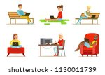 flat vector set of people with... | Shutterstock .eps vector #1130011739