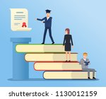 people climbing on book stairs... | Shutterstock .eps vector #1130012159