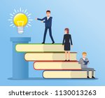 people climbing on book stairs... | Shutterstock .eps vector #1130013263
